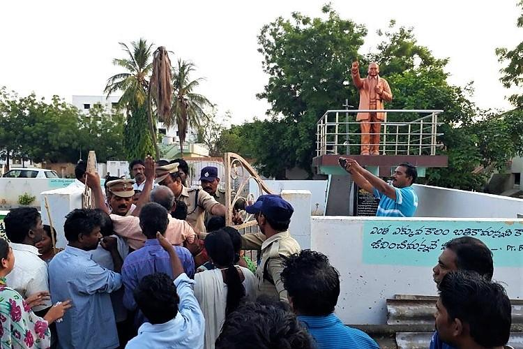 Tension grips Andhra village after Ambedkar statue garlanded with slippers