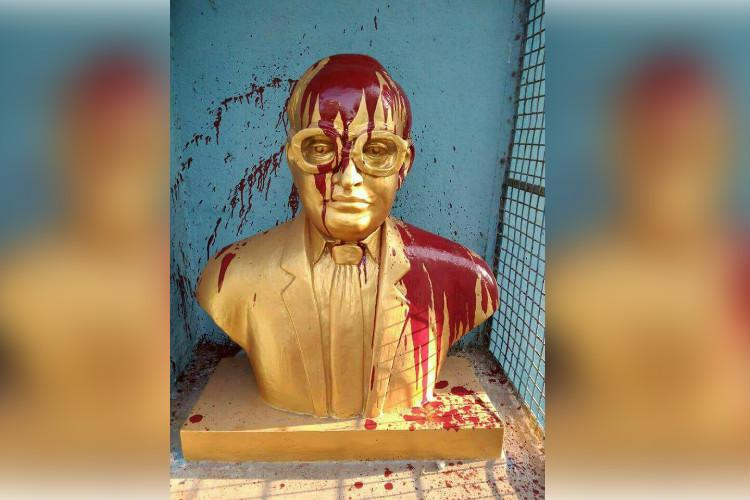 First Periyar now Ambedkar Vandals splatter red paint on statue of leader in Chennai