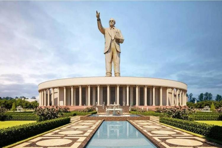 An artist impression of proposed 125 feet Dr BR Ambedkar statue