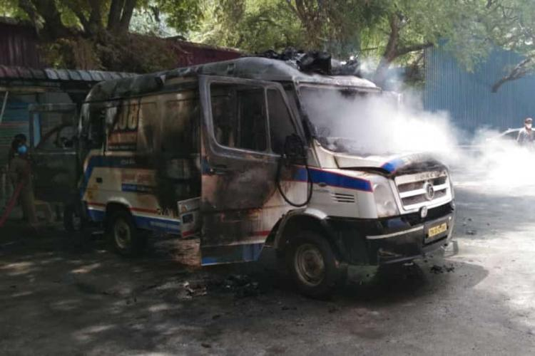 The ambulance after the fire was put out