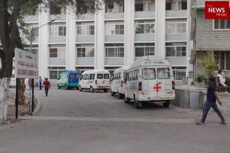 A line of Ambulances wait outside a Bengaluru hospital
