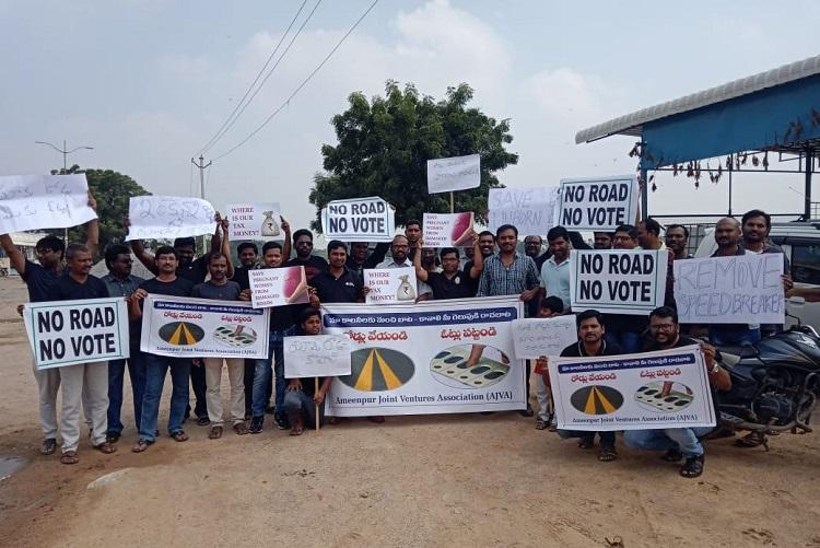 No road no vote Residents of Hyd colony protest against govt apathy
