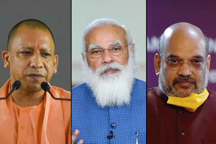 Yogi Adityanath, Narendra Modi, Amit Shah