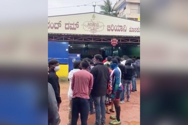 A line forms outside Anand Dum Biryani in Hoskote outside Bengaluru city