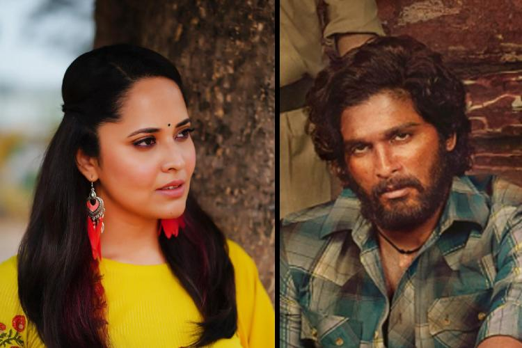 Anasuya Bharadwaj on the left and actor Allu Arjun on the right