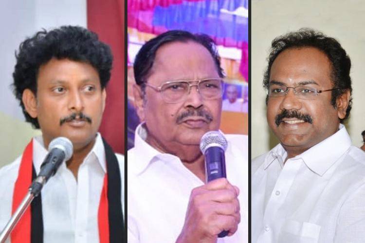 Anbil Mahesh Durai Murugan and Thangam Thennarasu of the DMK