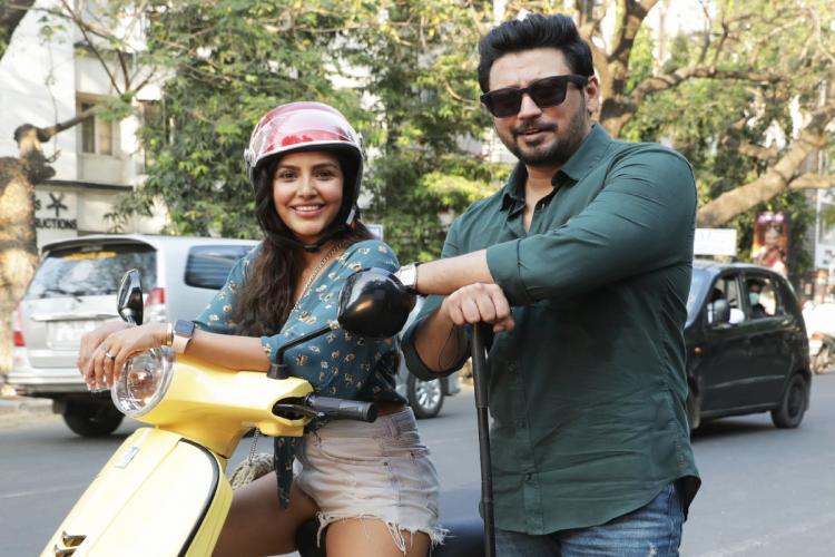 Actor Priya Anand and Prashanths image from Andhagans shoot