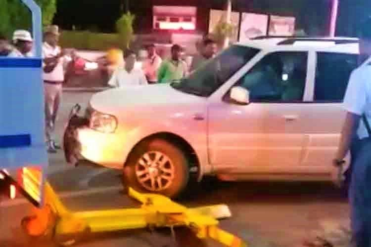 Video Andhra BJP leader creates ruckus booked for almost running over traffic cop