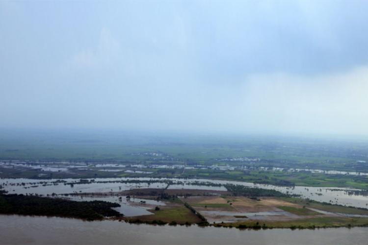 A birds eye view of the flooded areas