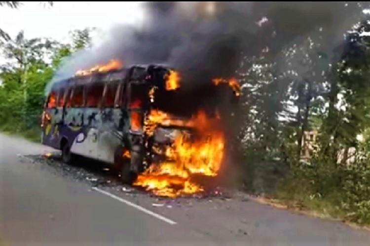 Video Andhra bus catches fire on road 28 passengers have narrow escape