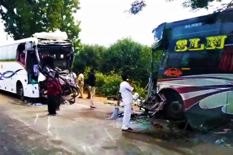 Two killed in Andhra as speeding private bus rams into APSRTC bus