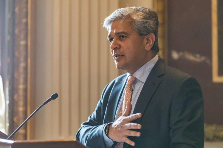 Anil Cheriyan speaking at a White House event in 2019 when he was the US Presidential Appointee in charge of technology transformation services