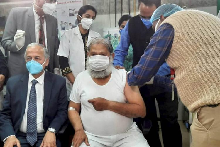 Haryana Health Minister Anil Vij volunteers in the trials for potential coronavirus vaccine Covaxin at Civil Hospital in Ambala district Friday Nov 20 2020