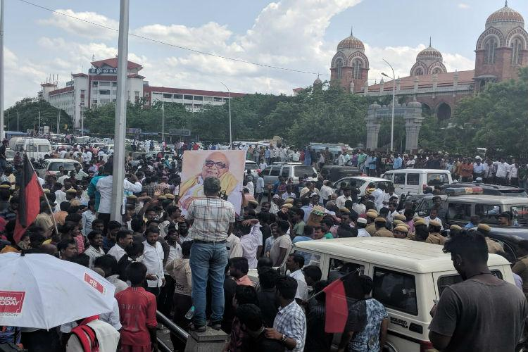 Karunanidhis funeral Procession to start at 4 pm DMK HQ gives the route
