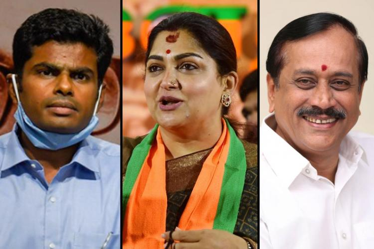 BJP candidates K Annamalai Khushboo and H Raja for 2021 Tamil Nadu Assembly elections