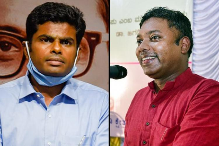 Former IPS officer Annamalai and former IAS officer S Sasikanth Senthil