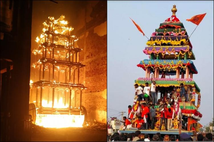 Collage of Antarvedi temple chariot on fire left and file image of chariot being used in a procession right
