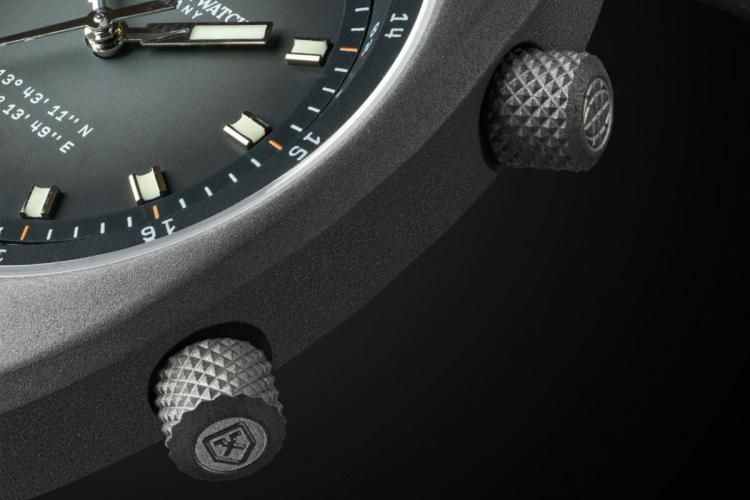 A grey coloured luxury watch of the apogee series