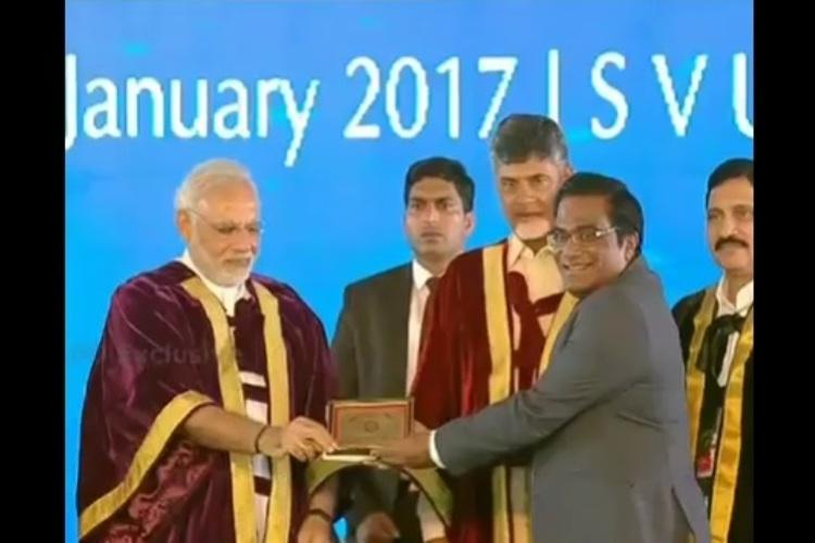 A stooge being rewarded by his BJP masters Hyd Uni students slam award to VC Appa Rao