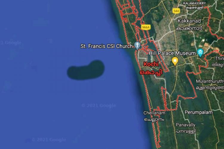 Google Maps showing island like formation in Arabian sea near Kochi