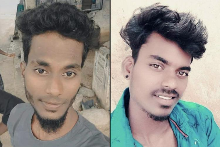 A collage of Dalit youth Suriya and Arjunan who were murdered