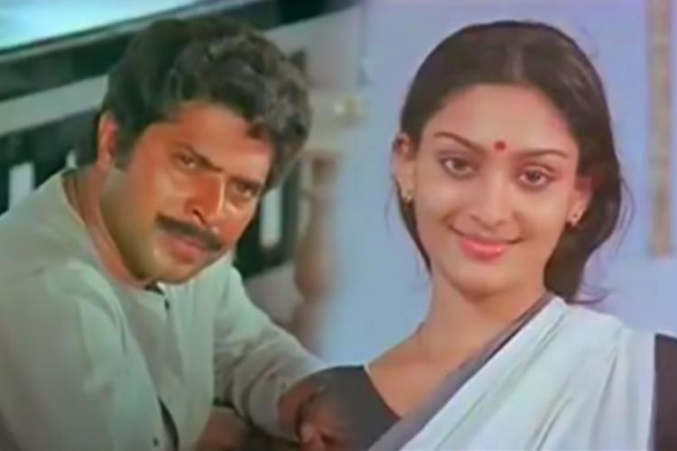 Still from Arapatta Kettiya Gramathil showing Mammootty and Unni Mary