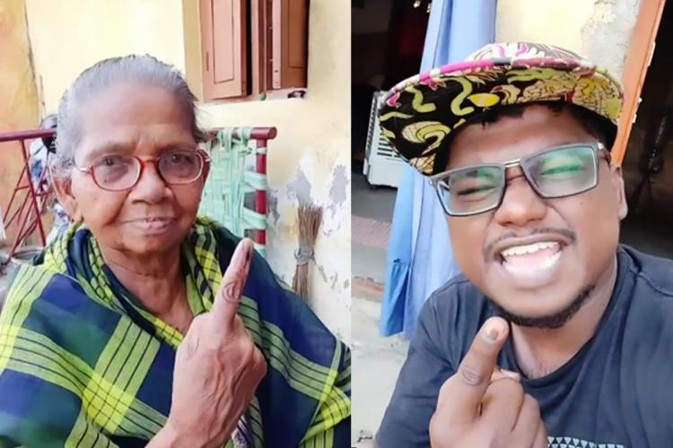 Grandmother Valliammal in checked saree and musician Arivu holding up their inked fingers