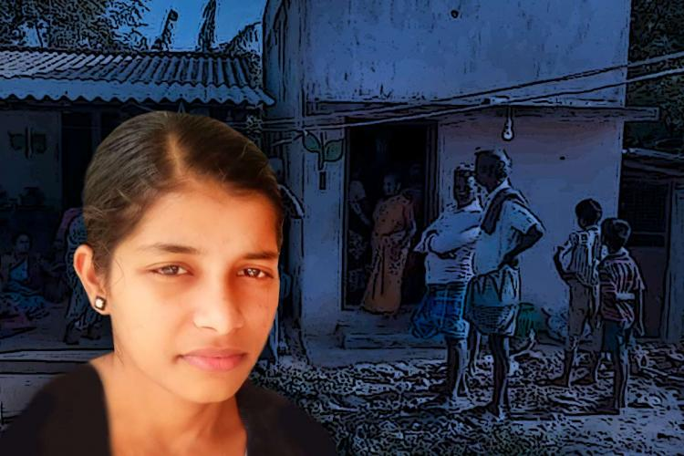 A image of girl who died due to NEET and in the background a dark image of people at her house