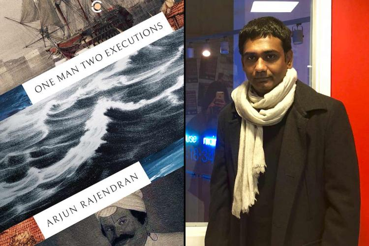 Collage of poet Arjun Rajendran with his book One Man Two Executions