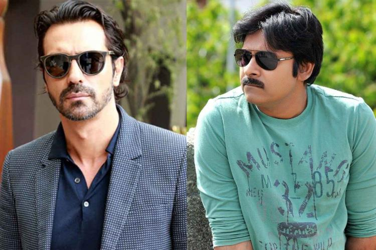 Collage of Arjun Rampal looking into the camera and Pawan Kalyan looking left