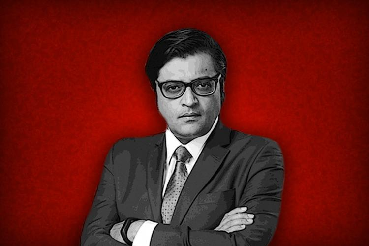 Arnab Goswami in black and white image made against a plain red background