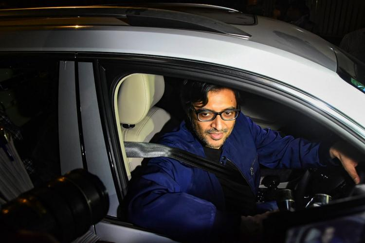 Republic TV Editor-In-Chief Arnab Goswami after being released from Taloja Central Jail on interim bail in the 2018 abetment to suicide case in Mumbai Wednesday Nov 11 2020