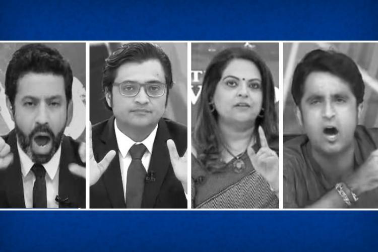 A collage of Rahul Shivshankar Arnab Goswami Navika Kumar and Pradeep Bhandari
