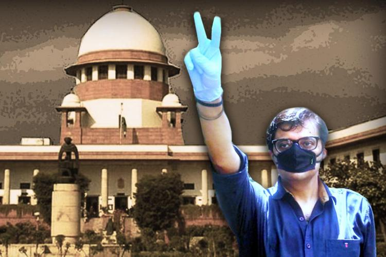 A stylised picture of Republic TV Editor-in-Chief Arnab Goswami with the Supreme Court in the background