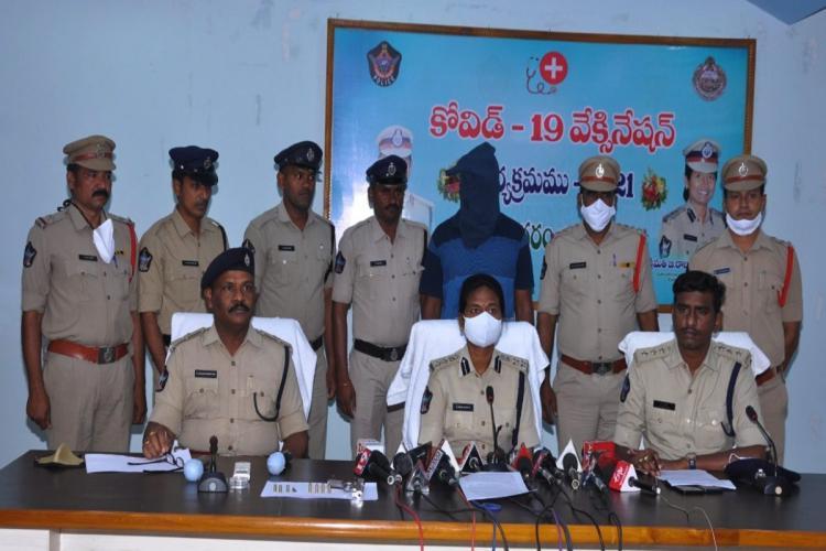 Police shows arrest of Army man in Vizianagaram