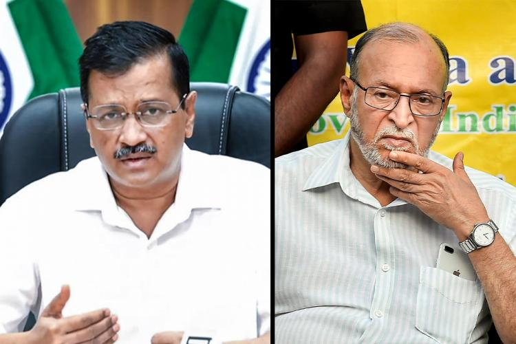 A collage of Arvind Kejriwal and Anil Baijal