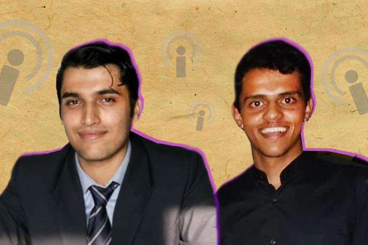 Stylized picture of Arvind Krishna and Aakash Athawasya