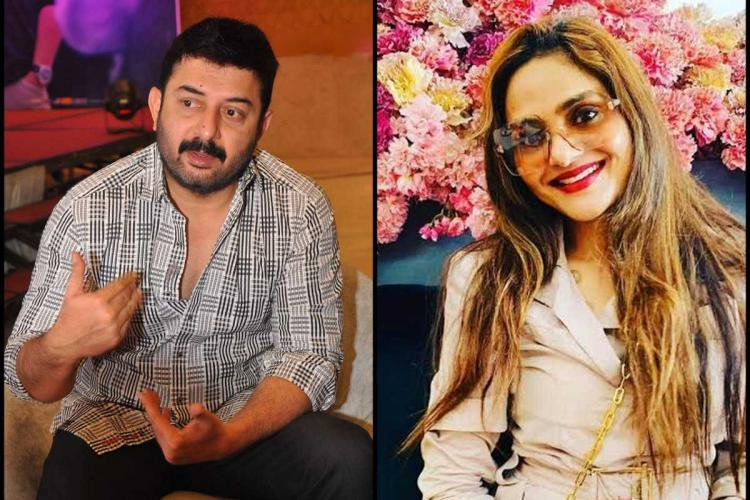 Collage of actor Arvind Swami on the left and Madhoo on right
