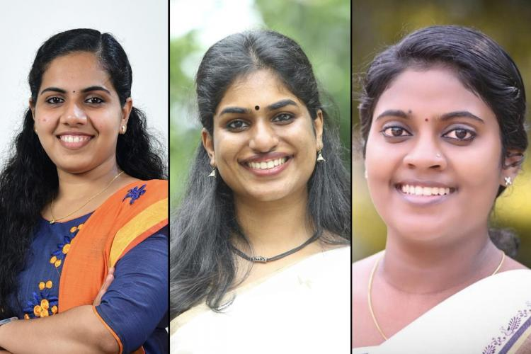 Collage of three young women smiling with the first woman in a blue and orange salwar and the other two in white Saris