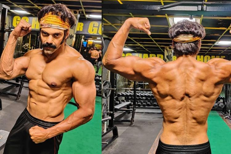 Actor Arya showing off his chiseled body in the gym in preparation for his role as a boxer in Pa Ranjiths Salpetta