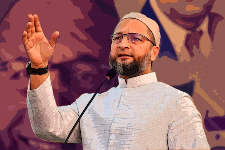 Asaduddin Owaisi speaks into a mic and addresses a crowd