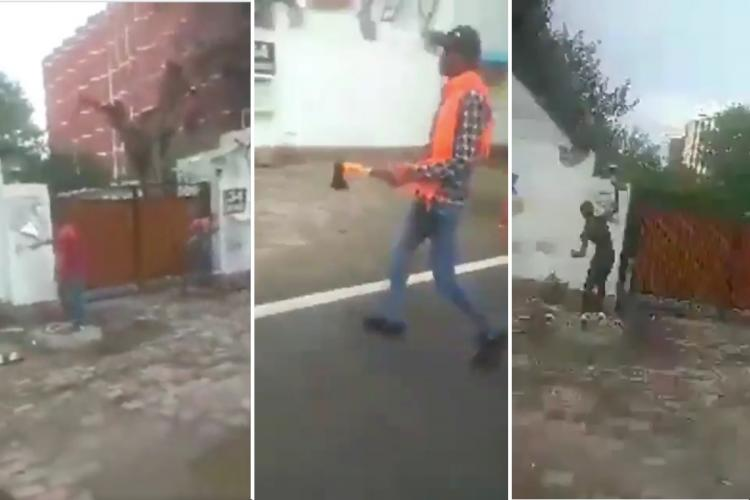 Screengrab from videos of the vandalism at Asaduddin Owaisi's house in New Delhi