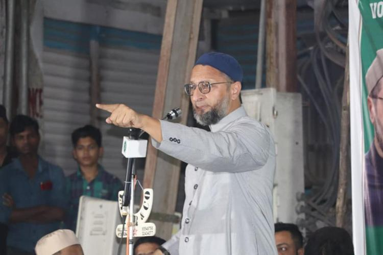 Asaduddin Owaisi addressing a crowd during the election campaign