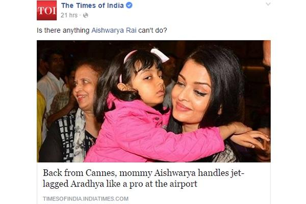 The Times of India gets trolled for story on Aishwarya Rais daughter throwing tantrum