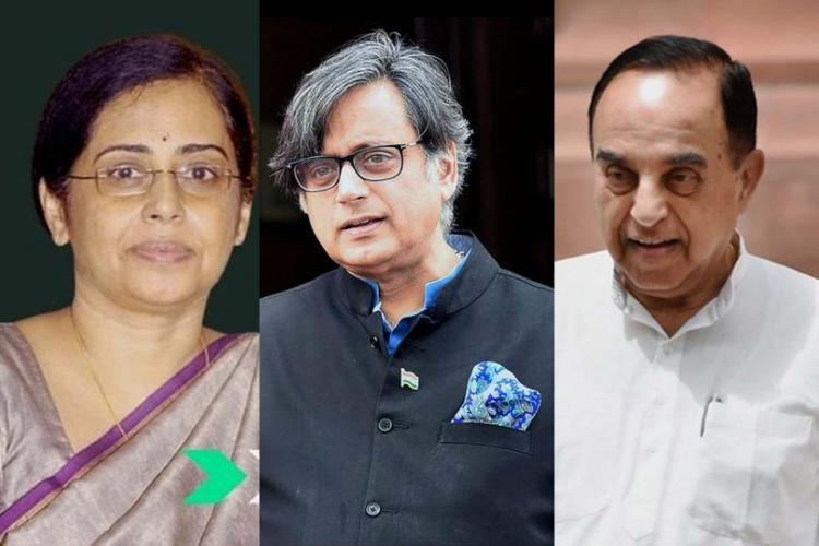 Collage of Dr Asha Shashi Tharoor Subramanian Swamy