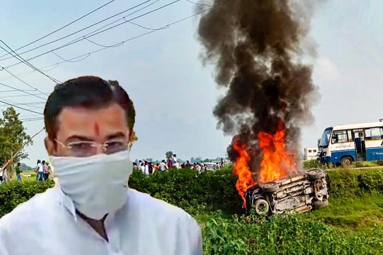 A picture of Ashish Mishra against a backdrop of the Lakhimpur Kheri violence site