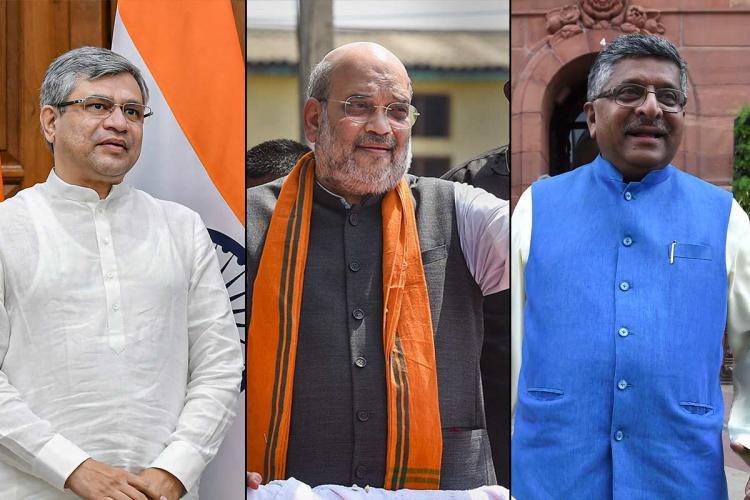 A collage of Amit Shah IT Minister Ashwini Vaishnaw Ravi Shanker Prasad