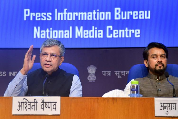 Ashwini Vaishnaw and Anurag Thakur announcing cabinet decisions at the national media centre