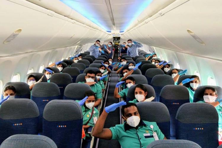 Nurses from three Indian states working in hospitals of Aster DM Healthcare on the flight to Dubai