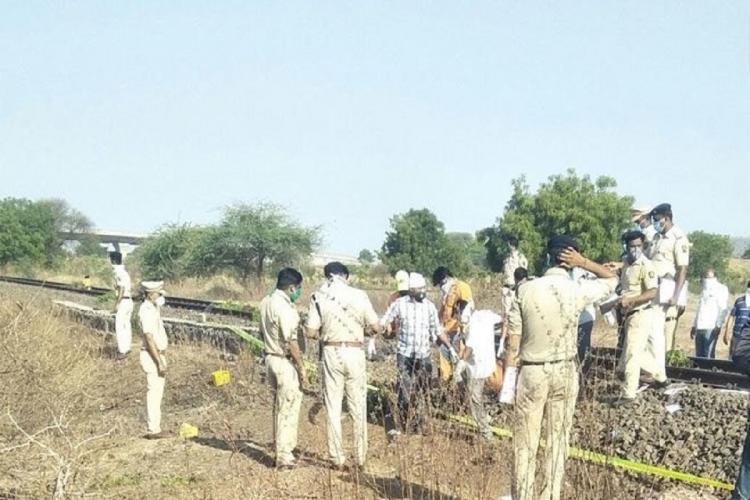 Site where 16 migrant workers were run over by a goods train in Aurangabad.